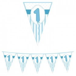 Banderina 1 compleanno azzurra