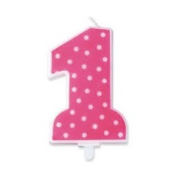Candelina Numero 1 pois rosa