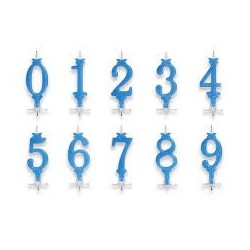 Candela numerale azzurra 10cm.