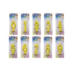 Candela numerale gialla 10cm.