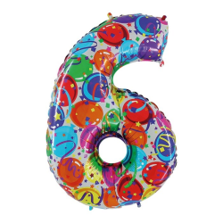 Pallone mylar numerale n. 6